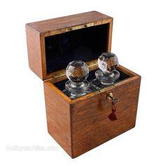 Antiques Atlas - Pair Of Oak Boxed Decanters
