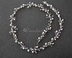 Long Wedding Hair Vine with Freshwater Pearls