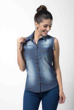 4e9e62d376 Camisa Social Feminina Regata Jeans - sem mangas Ref. 60.092-00 - Chemizz  Camisaria
