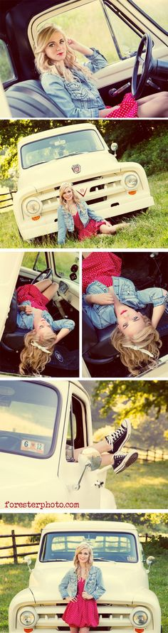 Truck senior picture ideas for girls. Senior pictures with trucks. Truck senior pictures. #truckseniorpictureideas #truckseniorpictures #seniorpictureideasforgirls #ad