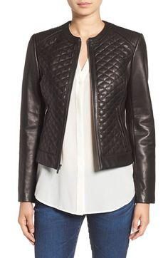 Cole Haan Cole Haan Quilted Leather Moto Jacket available at #Nordstrom