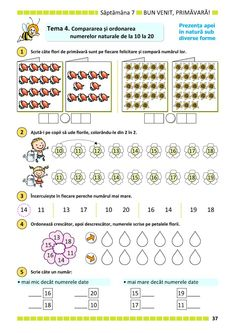 Clasa Pregătitoare : Matematică și explorarea mediului pentru clasa pregătitoare. Partea II Kindergarten Addition Worksheets, School Frame, Math School, Fun Math, Kids Education, Curriculum, Preschool, Romans, Activities