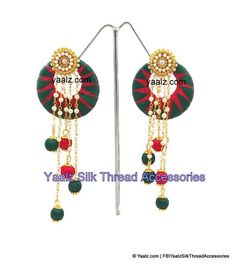 Yaalz Silk thread Zigzag Chand Bali Earring With Pearl Hangings In Red & Dark Green Color Silk Bangles, Silk Thread Earrings, Thread Jewellery, Jewellery Making, Jewelry, Indian Outfits, Green Colors, Making Ideas, Jute