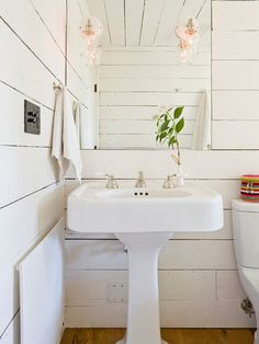 Tiny House - contemporary - bathroom - portland - by Jessica Helgerson Interior Design Like the wall boards Tiny Bathrooms, Beautiful Bathrooms, Farmhouse Bathrooms, White Bathroom, Small Bathroom, Bathroom Ideas, Wood Bathroom, Washroom, Bathroom Designs