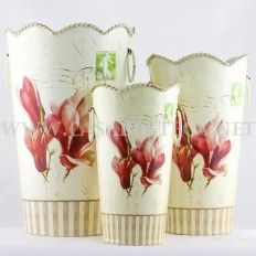 """Vaso contenitore in latta decoupage """"iris"""""""