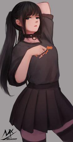 Very cute anime/manga girl. Any idea if this girl is from a real anime, or is this just a random single artwork? Anime Neko, Kawaii Anime Girl, Manga Kawaii, Cool Anime Girl, Pretty Anime Girl, Chica Anime Manga, Beautiful Anime Girl, Otaku Anime, Anime Art Girl