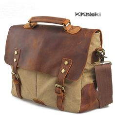 """The laptop briefcase satchels features:  A removable and ajustable shoulder strap, top leather handle, so it allow you to carry it in multi ways, such as a messenger bags, shoulder bags or tote handbags.  Inside has a laptop compartment, fit for most 14"""" laptop, a backwall zipper pocket and t..."""