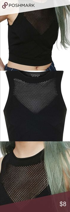 """NWT Topshop '90s Mesh Panel Crop Tank  US 2 A high neckline and mesh paneling elevate the sporty look of a soft and stretchy cropped tank. Bought from Nordstrom and never wore.  - 16"""" length (size 8) - Slips on over head - Unlined - 53% viscose, 47% polyamide - Machine wash cold, dry flat Topshop Tops Crop Tops"""