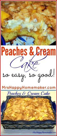 This Peaches and Cream Cake is SO darn delicious & its super easy. Warm dollops of cream with sweet peaches, you cant get much better than this recipe!