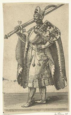 Adriaen Matham | Portret van Willem IV, graaf van Holland, Adriaen Matham, 1620 | Portret van Willem IV, graaf van Holland, staande naar links in een harnas met op zijn schouder het wapen van Henegouwen en in zijn hand een zwaard. Prent uit een serie van 36 prenten met portretten ten voeten uit van graven en gravinnen van Holland.