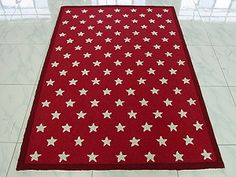 """Walk on Star"" rug.  Stars rug in red & white or blue & white."