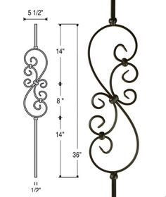 Small Scroll Iron Baluster : 2685