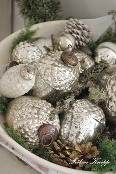 Mercury Glass Ornaments in antique bowl with fresh evergreen, moss and gold spray painted pinecones. Love this Farmhouse Christmas decor! Woodland Christmas, Silver Christmas, Merry Little Christmas, Vintage Christmas Ornaments, Primitive Christmas, Christmas Love, Rustic Christmas, Christmas Holidays, Christmas Bulbs