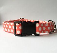 Peach Polka Dot Dog Collar Handmade
