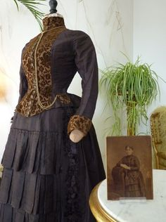 Bustle Gown with matching Cabinet Card, ca. 1880