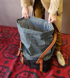 Weekender Bag, Waxed Canvas, Roll Top Canvas Travel Bag Backpack in Black…