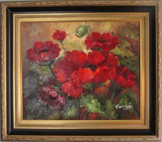 Red Poppies by Henidos - Original Oil Painting 20 x 24 Artist: Henidos  Size: 20 High x 24 Wide Canvas  Hand-painted, original oil painting on canvas.   Presented in a black and gold designer frame. Ready to hang.