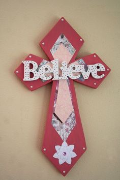 Believe Beautiful Wooden Cross by MarysStitchShop Mosaic Crosses, Wooden Crosses, Crosses Decor, Wall Crosses, Wooden Letters, Picture Frame Chalkboard, Faith Crafts, Wood Crafts, Diy Crafts