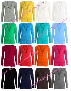 New womens Ladies Girls Boyfriend buttoned fitted Cardigan Warm Winter Coloured