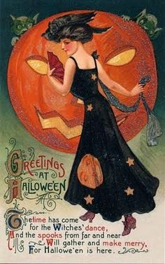 Gorgeous vintage Halloween card from bunnychicboutique.blogspot.com