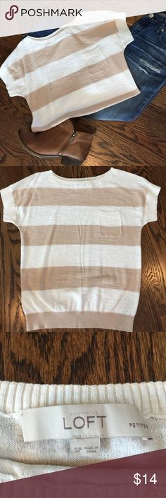 ✨New listing✨Tan & white striped Loft sweater This tan & white striped sweater from Ann Taylor Loft has the feel of a sweater with the look of a pocket tee.  In very good used condition.  Size Small Petite. LOFT Sweaters