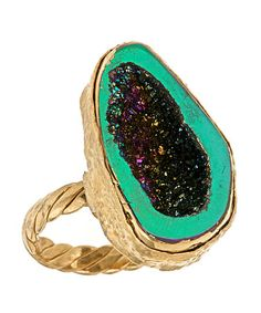 geode disco ring - chunky colorful stones!