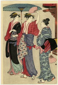 KIYONAGA japanese parasol with fans and three women chatting Japanese Artwork, Japanese Painting, Japanese Prints, Woodblock Print, Geisha Drawing, Turning Japanese, Illustrations, Japan Art, Orient