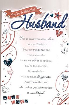 You're A Special Husband - With Love - Birthday Greeting Card Happy Birthday Clip Art, Happy Birthday Love Quotes, Birthday Quotes For Girlfriend, Birthday Message For Husband, Happy Birthday Husband, Birthday Clips, Happy Birthday Celebration, Happy Anniversary To My Husband, Happy Wedding Anniversary Wishes