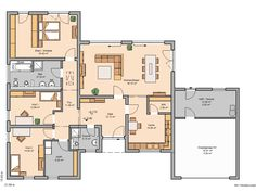 Kern-Haus Bungalow Trio floor plan ground floor by Garage Design, House Design, Building Design, Building A House, Garage Plans With Loft, Carriage House Plans, Apartment Plans, House Blueprints, Architectural Design House Plans