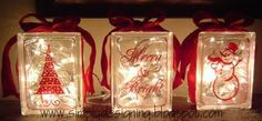 Lighted Christmas Glass Blocks - complete how-to! Includes glass block drilling tips / tricks etc Christmas Glass Blocks, Christmas Love, Christmas Projects, All Things Christmas, Holiday Crafts, Christmas Holidays, Christmas Decorations, Christmas Ideas, Holiday Ideas