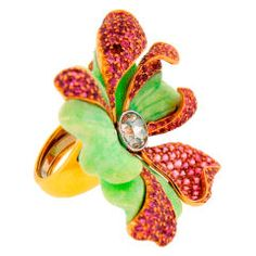 CARVIN FRENCH Pink Sapphire, Diamond, Green Stone & Gold Flower Ring