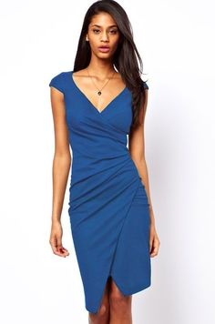 cced64b363c Blue Ruched Midi Dress LAVELIQ SALE Casual Dresses For Women