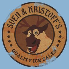 Sven & Kristoff.  Note that their company logo is SVEN'S PICTURE. Sven is also listed first in the company name. AS HE SHOULD BE. (THE WHOLE DAMN MOVIE SHOULD BE LIKE THAT!) #Frozen #Disney <3