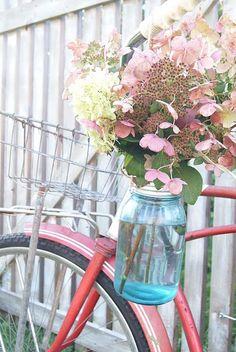 Red bike, blue jar, pink flowers