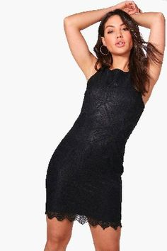 #boohoo Lace Scallop Hem Bodycon Dress - black DZZ43905 #Ari Lace Scallop Hem Bodycon Dress - black