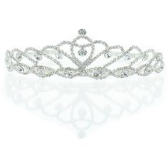 Kate Marie 'Iris' Silver Rhinestone Crown Tiara (€23) ❤ liked on Polyvore featuring accessories, hair accessories, jewelry, crowns, tiaras, silver, tiara crown, crown headband, silver headband and head wrap headbands