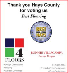 Thank you Hays County for voting us Best Flooring | 4 Floors Design - Austin, TX #texas #SanMarcosTX #shoplocal #localTX