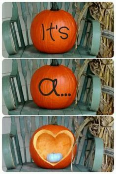 18 Gender Reveal ideas for your next pregnancy. Creative ways to announce if your baby is a boy or girl. Don't miss the chance to celebrate your little one! This one: Halloween/Fall baby reveal. Pumpkin Gender Reveal, Fall Gender Reveal, Halloween Gender Reveal, Gender Reveal Photos, Pregnancy Gender Reveal, Baby Gender Reveal Party, Gender Party, Gender Reveal Photography, Country Gender Reveal