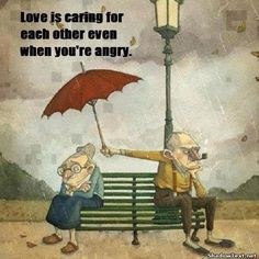 cartoon picture of old couple on park bench | Caring Even When Angry... - Quote Generator QuotesAndSayings