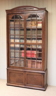 Solid Oak Glazed Bookcase from Worboys Antiques Oak Bookshelves, Walnut Bookcase, Bookcases For Sale, Mahogany Bookcase, Mahogany Cabinets, Antique Bookcase, Open Bookcase, Antique Interior, Antique Furniture