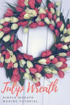 Make this beautiful & EASY tulip wreath! A step by step video tutorial by Junque 2 Jewels. Easy Diy Crafts, Diy Craft Projects, Tulip Wreath, Flower Wreaths, Diy Fall Wreath, How To Make Wreaths, Spring Crafts, Flower Making, Tulips