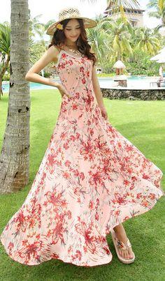 summer long chiffon beach dress pink