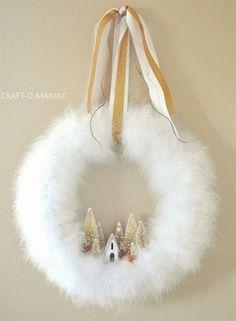Winter Wonderland Christmas Wreath : DIY Christmas Wreath using white feather boa. DIY Christmas Wreath using white feather boa. Wreath Crafts, Diy Wreath, Christmas Projects, Christmas Crafts, Christmas Decorations, Christmas Ornaments, Decor Crafts, Wreath Ideas, Christmas Ideas