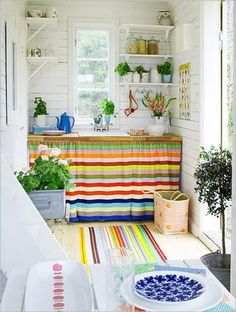 Bold and Bright Striped Cabinet Curtain