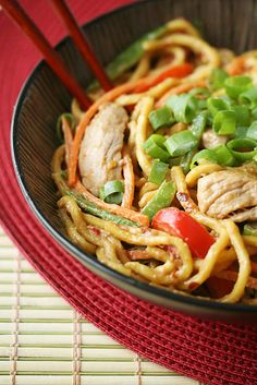 Spicy Peanut Noodles with Pork by crumbblog: Comes together in a flash. For a vegan-friendly version, substitute tofu for pork and omit the fish sauce. #Noodles #Peanut #Asian