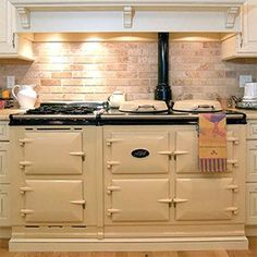 AGA 3 Oven Traditional Gas Cooker w/ Module Attached. An Aga stars in the kitchen of most Rosamunde Pilcher novels.