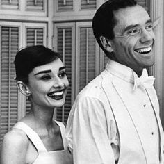 Audrey Hepburn and Mel Ferrer photographed at their home on the day of the 28th Academy Awards