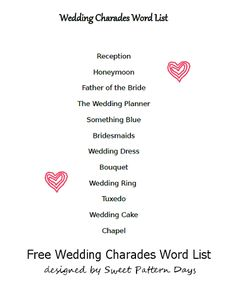 wedding word list