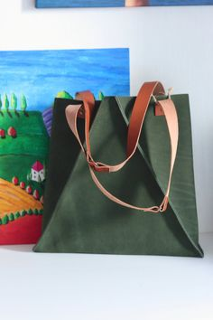 Handmade green leather bag forest green bag, geometric bag, triangle bag by ILoveTriangle on Etsy