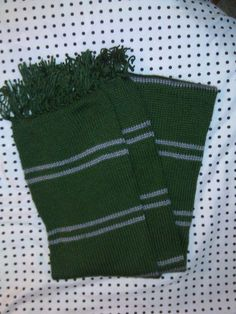 Hand Knit Green and Silver Striped Scarf